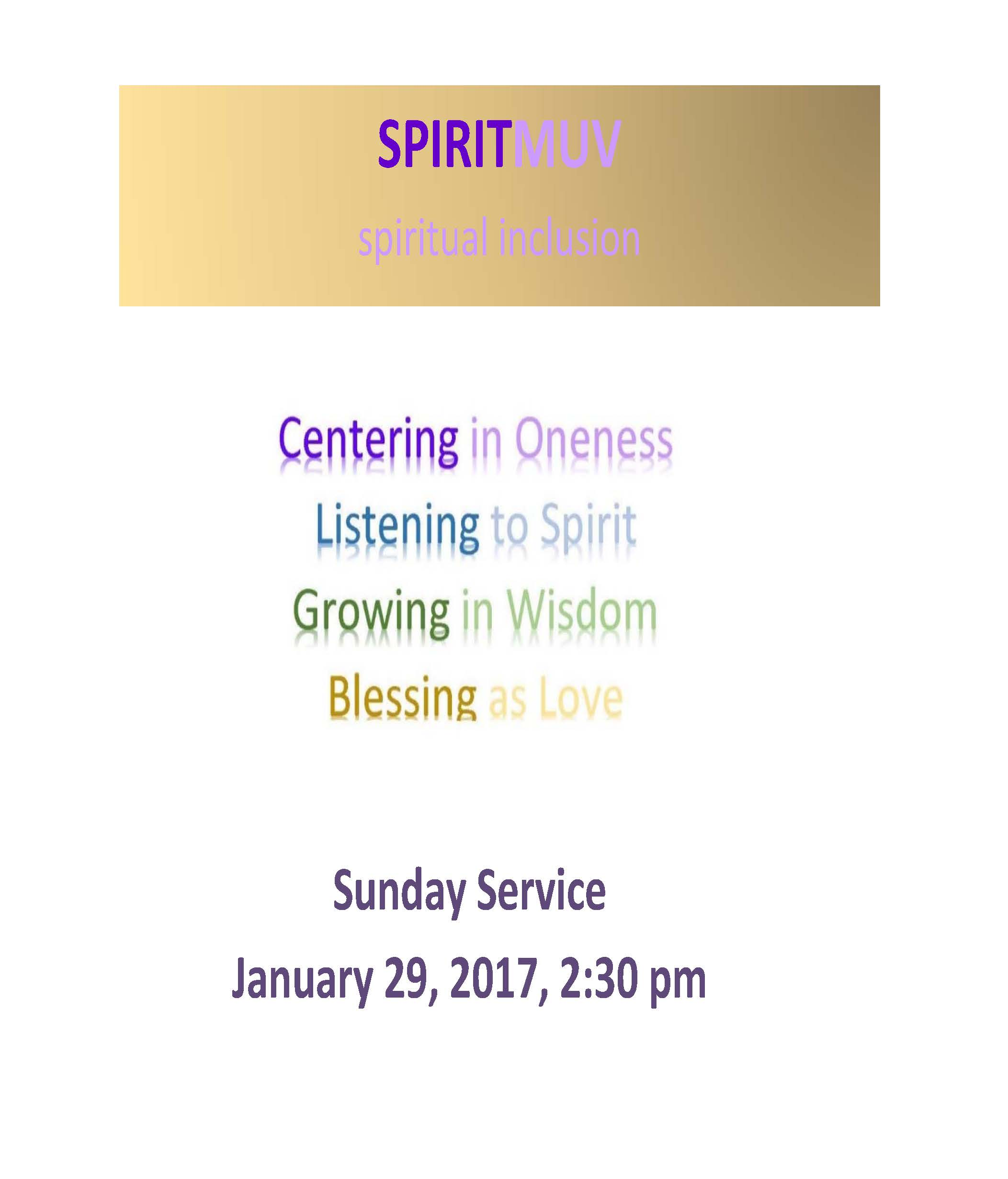SPIRITMUV – Spiritual Renewal (MIND, BODY and SOUL) Jan 29, 2017